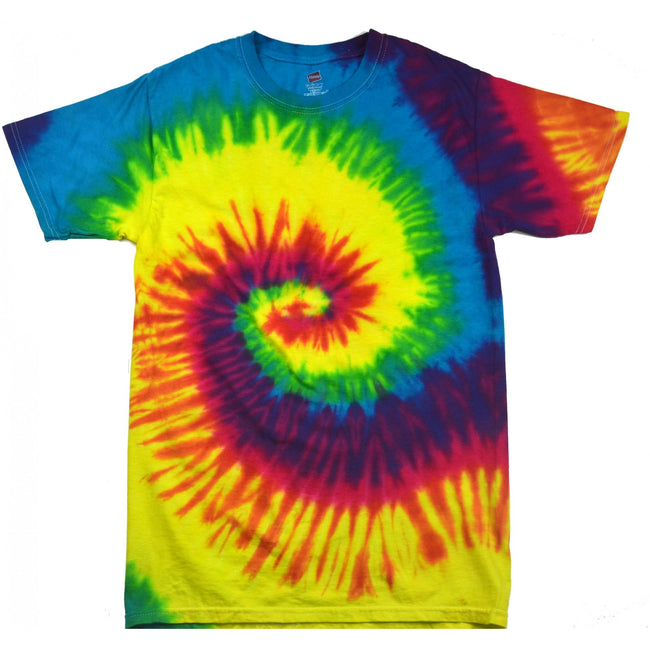 Rainbow - Front - Colortone Womens-Ladies Rainbow Tie-Dye Short Sleeve Heavyweight T-Shirt