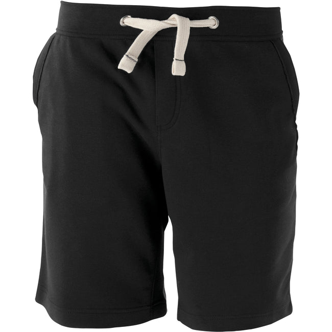 Black - Front - Kariban Mens Fleece Sports Shorts