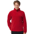 Red - Back - B&C Mens Highlander+ 1-4 Zip Fleece Top