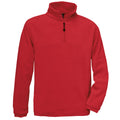 Red - Front - B&C Mens Highlander+ 1-4 Zip Fleece Top