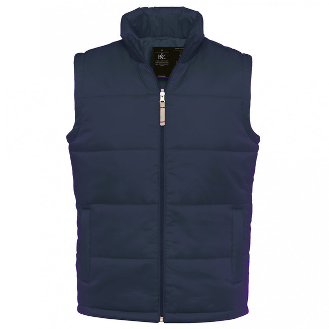 Navy - Front - B&C Mens Full Zip Waterproof Bodywarmer-Gilet