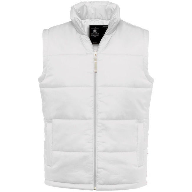 White - Front - B&C Mens Full Zip Waterproof Bodywarmer-Gilet