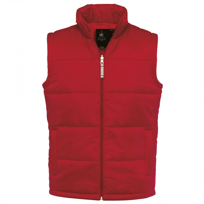 Red - Front - B&C Mens Full Zip Waterproof Bodywarmer-Gilet