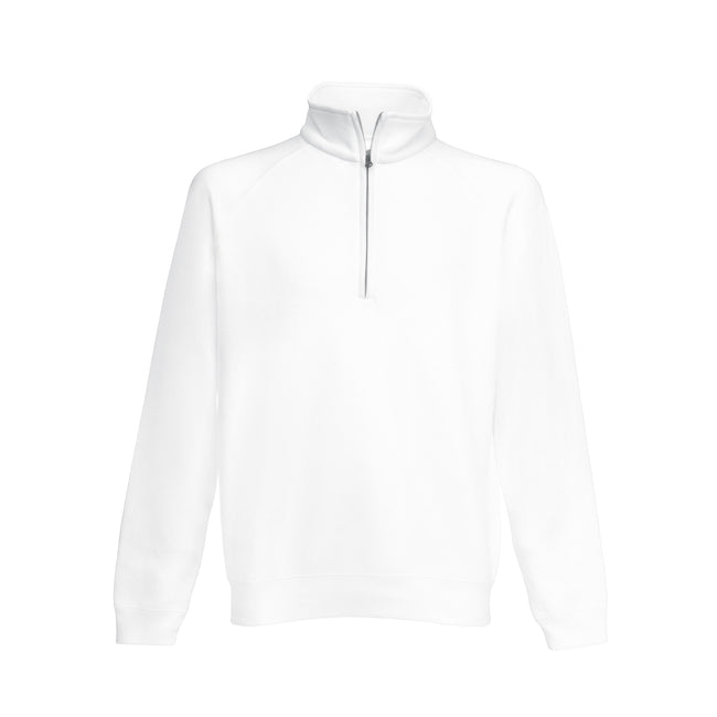 White - Front - Fruit Of The Loom Mens Premium 70-30 Zip Neck Sweatshirt