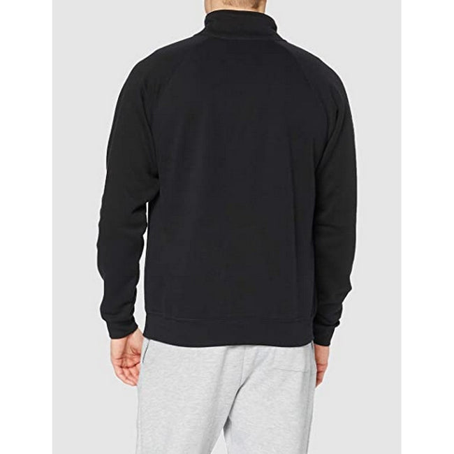Black - Front - Fruit Of The Loom Mens Premium 70-30 Zip Neck Sweatshirt