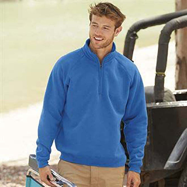 Royal Blue - Side - Fruit Of The Loom Mens Premium 70-30 Zip Neck Sweatshirt