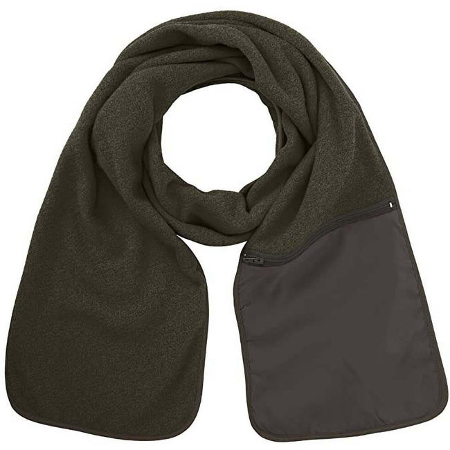 Grey - Back - Result Active Anti-Pilling Fleece Winter Scarf With Zip Pocket