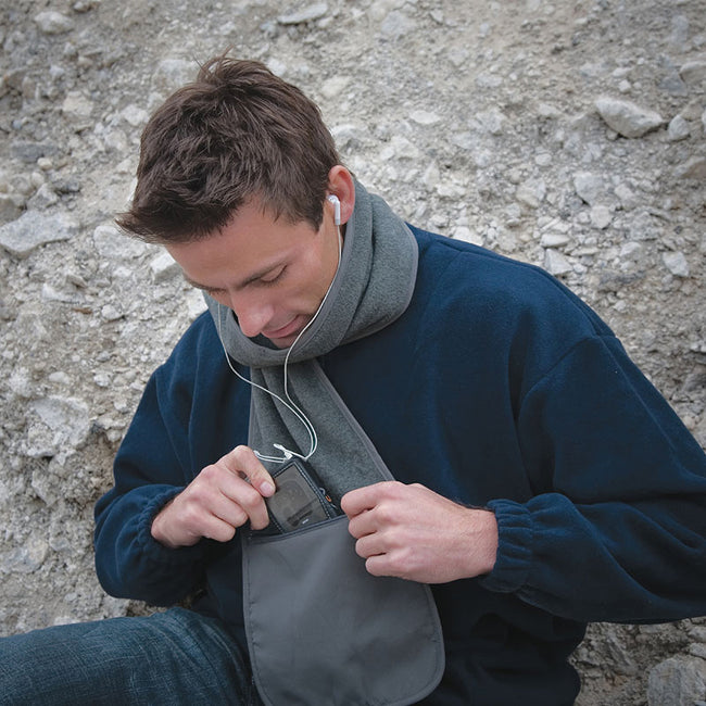 Grey - Side - Result Active Anti-Pilling Fleece Winter Scarf With Zip Pocket