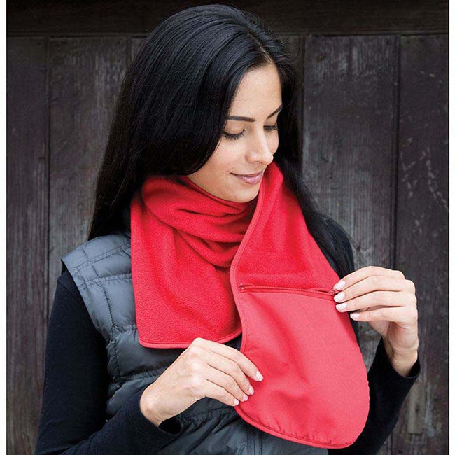Red - Back - Result Active Anti-Pilling Fleece Winter Scarf With Zip Pocket