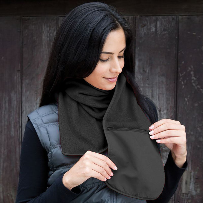 Black - Back - Result Active Anti-Pilling Fleece Winter Scarf With Zip Pocket