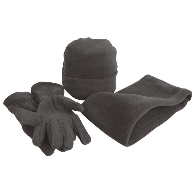 Charcoal - Front - Result Unisex Active Fleece Anti-Pill Winter Hat, Gloves & Neckwarmer Set
