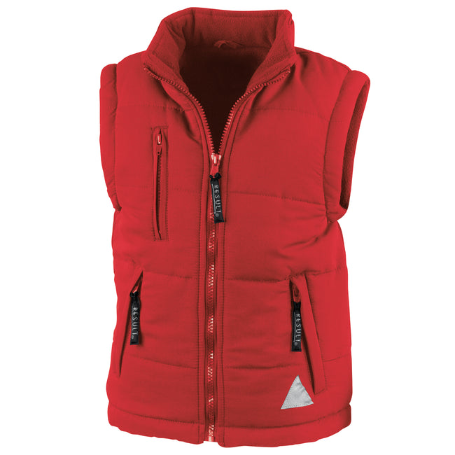 Red - Front - Result Childrens Unisex Ultra Padded Bodywarmer - Gilet (Water Repellent & Windproof)