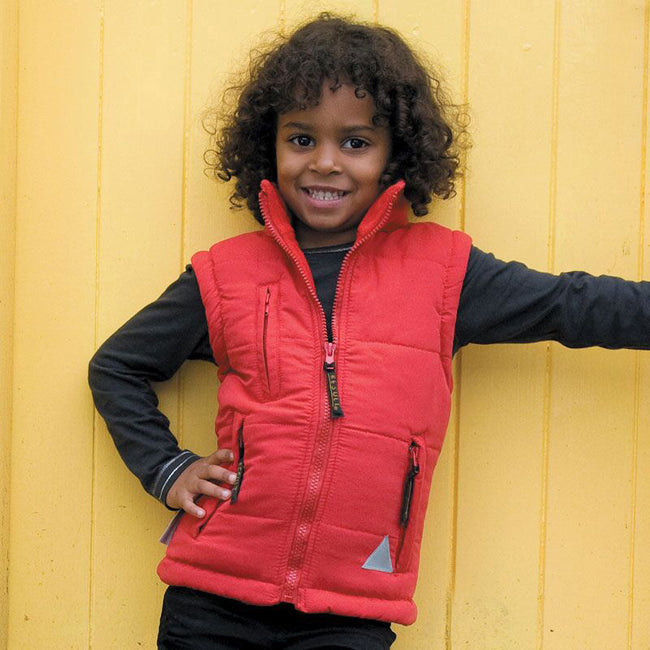 Red - Back - Result Childrens Unisex Ultra Padded Bodywarmer - Gilet (Water Repellent & Windproof)