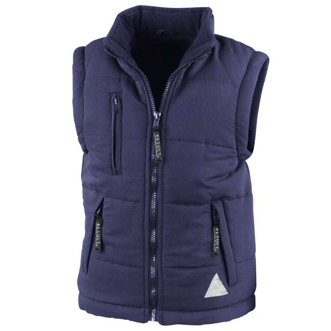 Navy - Front - Result Childrens Unisex Ultra Padded Bodywarmer - Gilet (Water Repellent & Windproof)