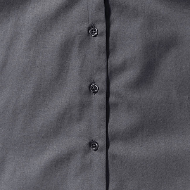 Zinc - Close up - Russell Collection Womens-Ladies Short Sleeve Classic Twill Shirt