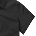 Black - Close up - Russell Collection Womens-Ladies Short Sleeve Classic Twill Shirt