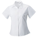 White - Front - Russell Collection Womens-Ladies Short Sleeve Classic Twill Shirt