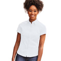White - Back - Russell Collection Womens-Ladies Short Sleeve Classic Twill Shirt