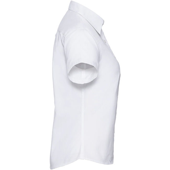White - Lifestyle - Russell Collection Womens-Ladies Short Sleeve Classic Twill Shirt
