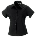 Black - Front - Russell Collection Womens-Ladies Short Sleeve Classic Twill Shirt
