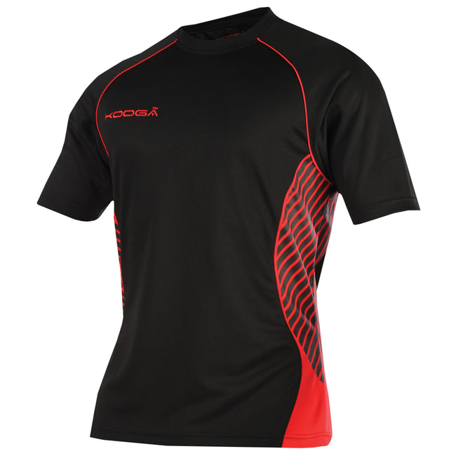 Black-Red - Front - KooGa Boys Junior Try Panel Match Rugby Shirt