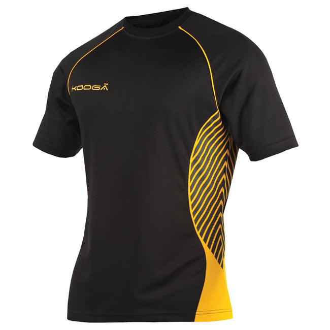 Black-Gold - Front - KooGa Boys Junior Try Panel Match Rugby Shirt