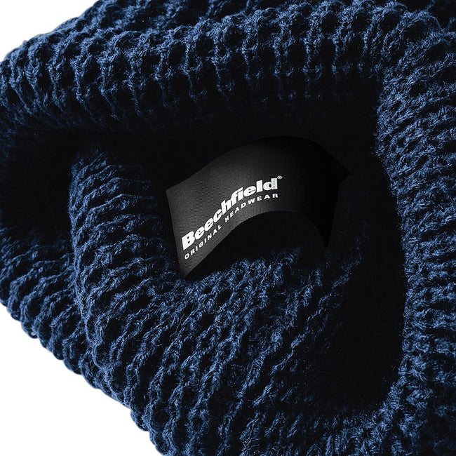 French Navy - Side - Beechfield Unisex Classic Waffle Knit Winter Beanie Hat