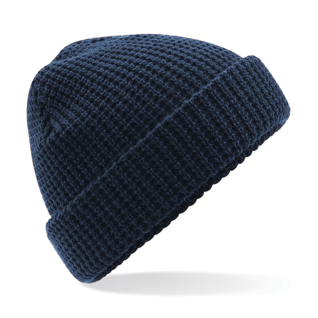 French Navy - Front - Beechfield Unisex Classic Waffle Knit Winter Beanie Hat