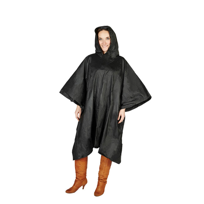 Black - Back - Hooded Plastic Reusable Poncho