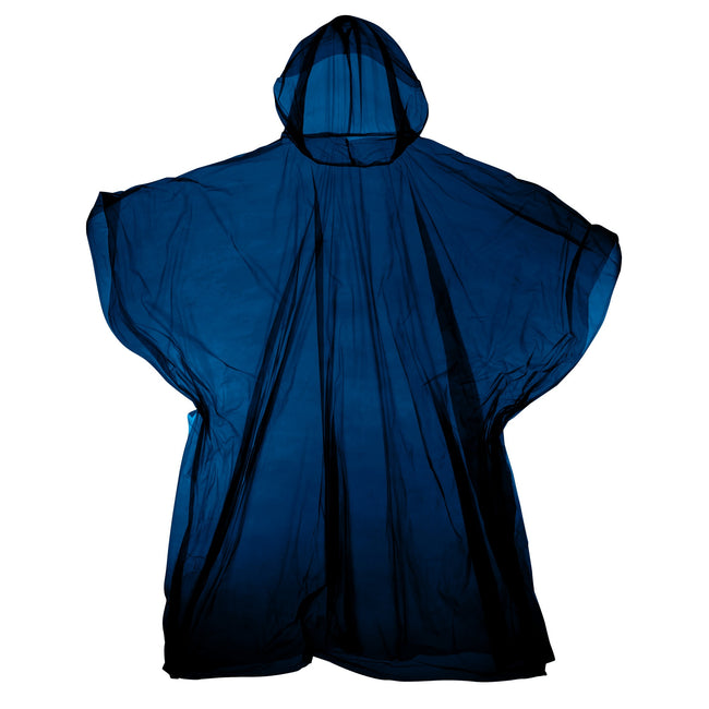 Navy - Front - Hooded Plastic Reusable Poncho