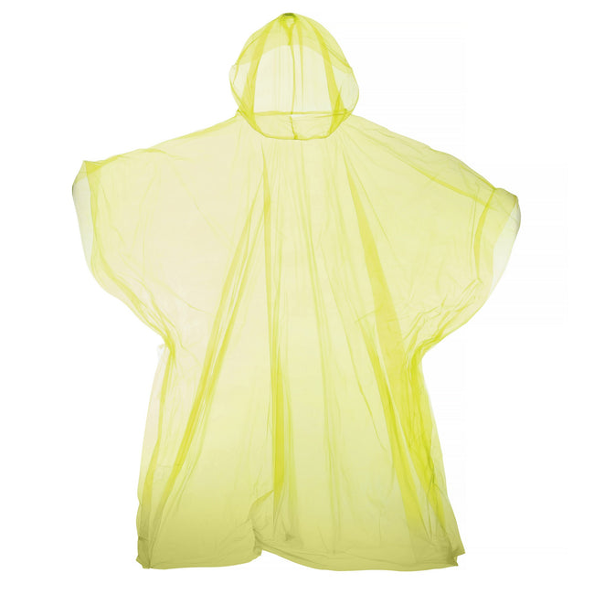 Yellow - Front - Hooded Plastic Reusable Poncho