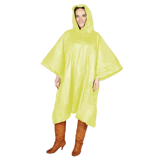 Yellow - Back - Hooded Plastic Reusable Poncho