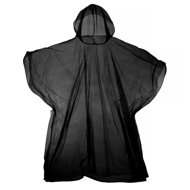 Black - Front - Hooded Plastic Reusable Poncho