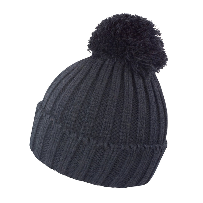 Black - Front - Result Unisex Winter Essentials HDi Quest Knitted Beanie Hat