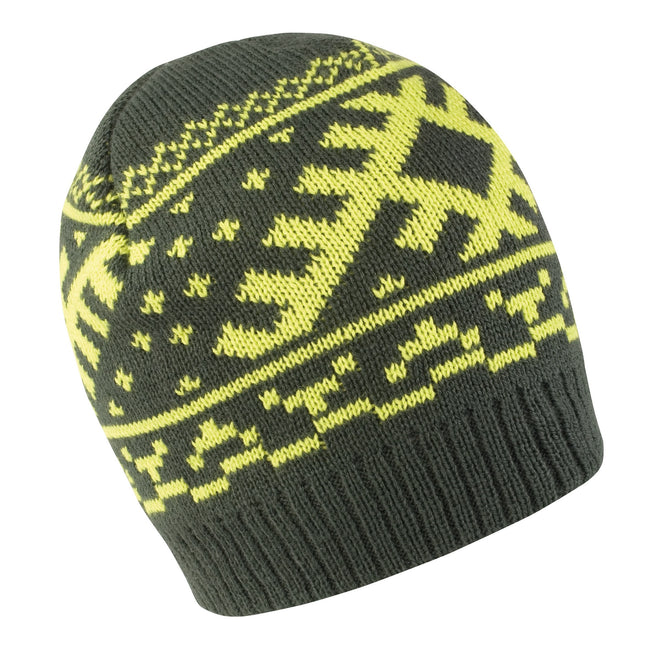 Dark Olive - Lime - Front - Result Unisex Winter Essentials Nordic Knitted Hat