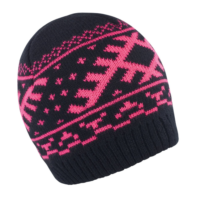 Black - Hot Pink - Front - Result Unisex Winter Essentials Nordic Knitted Hat