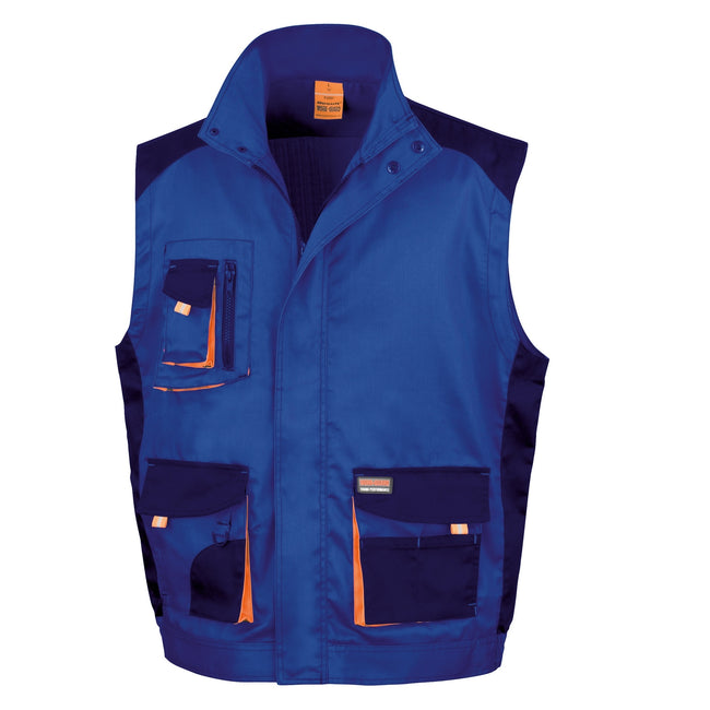 Royal - Navy - Orange - Front - Result Mens Work-Guard Lite Workwear Gilet - Bodywarmer (Breathable And Windproof)