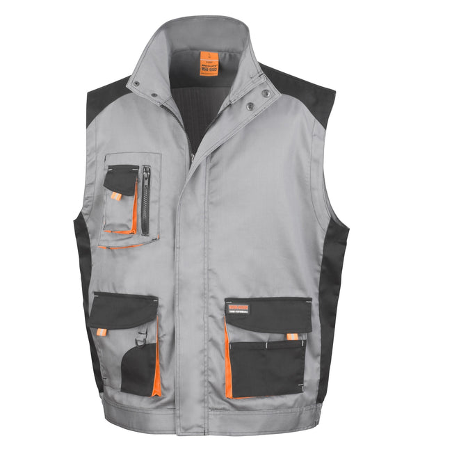 Grey - Black - Orange - Front - Result Mens Work-Guard Lite Workwear Gilet - Bodywarmer (Breathable And Windproof)