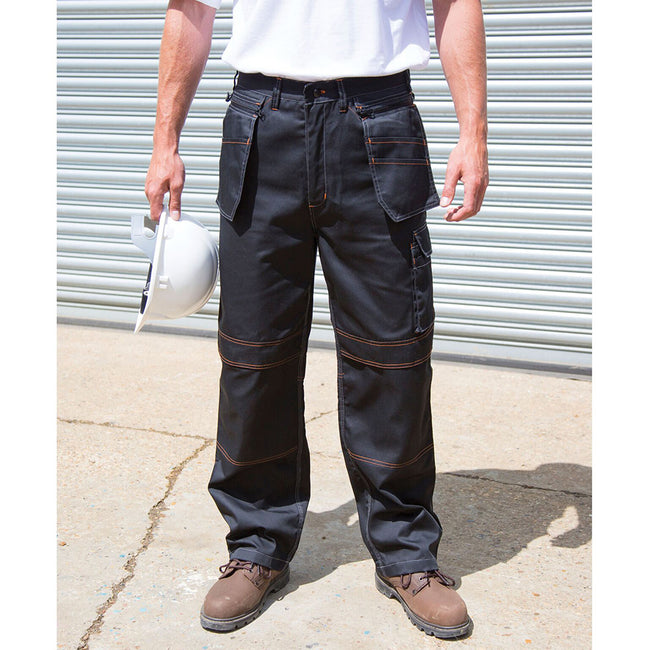 Black - Pack Shot - Result Unisex Work-Guard Lite X-Over Holster Workwear Trousers (Breathable And Windproof)