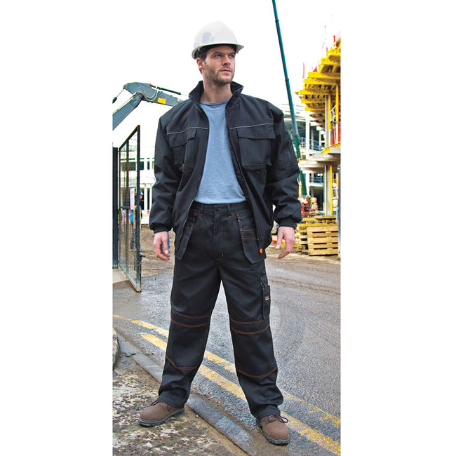 Black - Close up - Result Unisex Work-Guard Lite X-Over Holster Workwear Trousers (Breathable And Windproof)