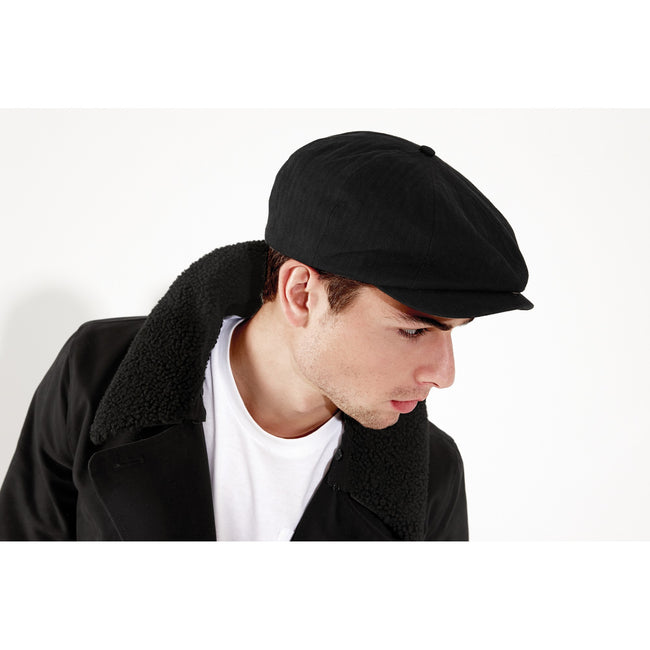 Black - Back - Beechfield Mens Classic Herringbone Newsboy Cap