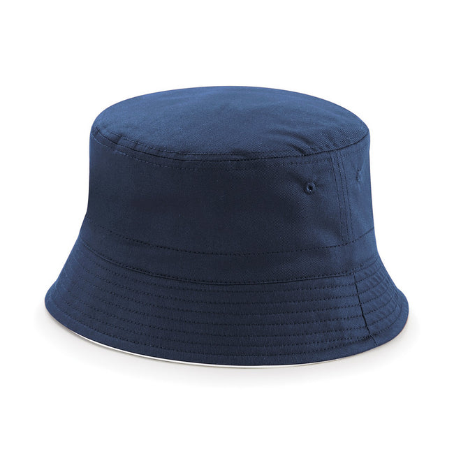French Navy- White - Front - Beechfield Unisex Classic Reversible Bucket Hat