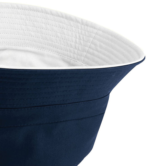 French Navy- White - Side - Beechfield Unisex Classic Reversible Bucket Hat