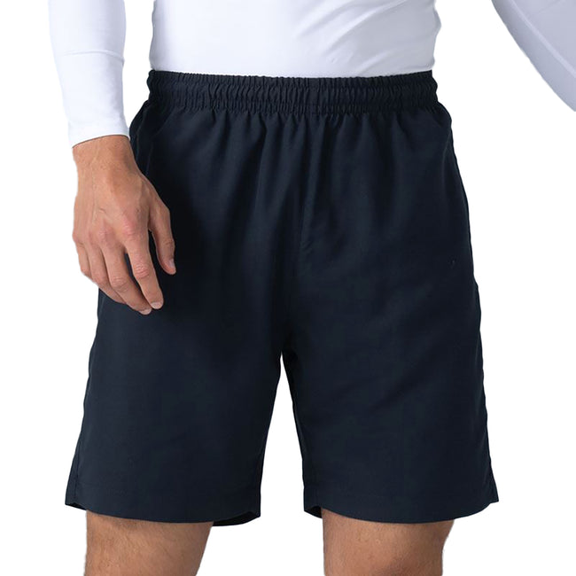 Navy - Back - Finden & Hales Womens-Ladies Microfibre Sports Shorts