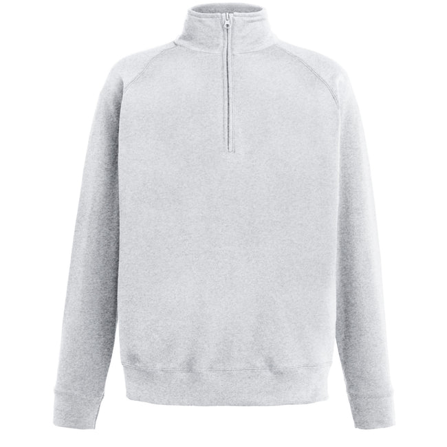Heather Grey - Front - Fruit Of The Loom Mens Lightweight Zip Neck Sweatshirt