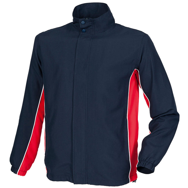 Navy- Red- White - Front - Finden & Hales Mens Contrast Full Zip Sport Track Top