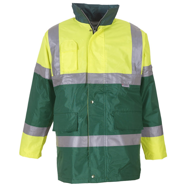 Yellow- Paramedic Green - Front - Yoko Mens Hi Vis Contrast Safety Jacket