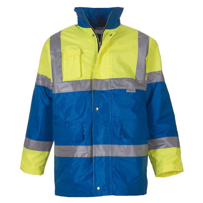 Yellow- Royal Blue - Front - Yoko Mens Hi Vis Contrast Safety Jacket