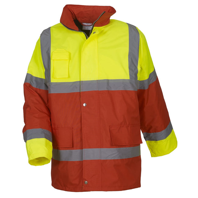 Yellow- Red - Front - Yoko Mens Hi Vis Contrast Safety Jacket