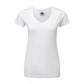 White - Front - Russell Womens-Ladies V-Neck HD Short Sleeve T-Shirt